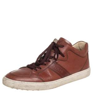 Tod's Brown Leather Low Top Sneakers Size 41.5