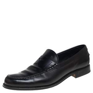 Tod's Black Leather Penny Slip On Loafers Size 45