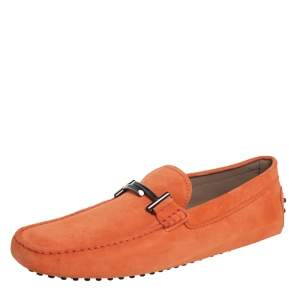 Tod's Orange Suede Gommino Double T Loafers Size 45.5