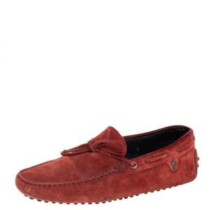 Tod's For Ferrari Maroon Suede Bow Slip On Loafers Size 41