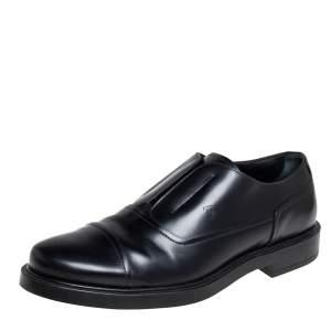 Tod's Black Leather Cap Toe Slip On Oxford Size 42