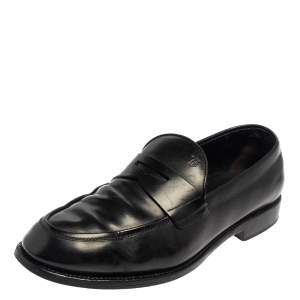 Tod's Black Leather Penny Slip On Loafers Size 43