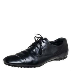 Tod's Black Leather Lace Up Oxford Size 41.5
