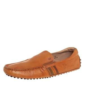 Tods Light Brown Leather Slip On Loafers Size 44.5