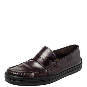Tod's Burgundy Leather Penny Slip On Loafers Size 42