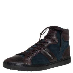 Tods Blue/Brown Suede And Leather High Top Sneakers Size 44.5