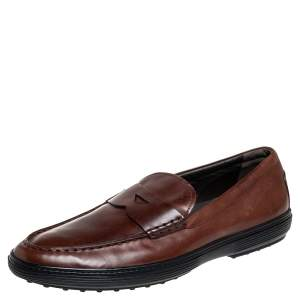 Tod's Brown Leather Slip On Loafers Size 47