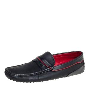 Tod's Black Leather Slip On Loafers Size 43