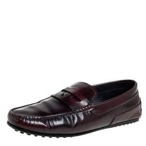 Tods Burgundy Leather Slip On Loafers Size 41