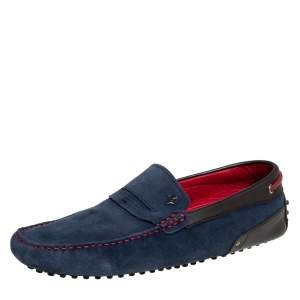 Tods By Ferrari Blue/Brown Suede And Leather Slip On Loafer Size 43