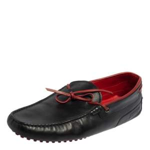 Tod's By Ferrari Black Leather Bow Slip On Loafers Size 43