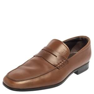 Tod's Brown Leather Slip On Loafers Size 39.5
