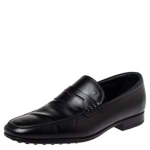 Tod's Black Leather Penny Loafers Size 41