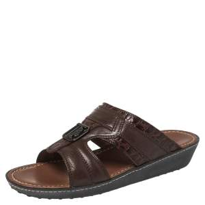 Tod's Brown Leather And Croc Embossed Slide Sandals Size 41.5