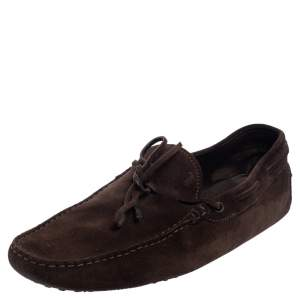 Tod's Brown Suede Bow Slip On Loafers Size 45