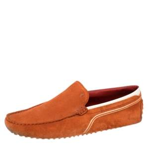 Tod's for Ferrari Orange Suede and White Leather Loafers Size 43