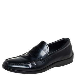 Tod's Black Leather Penny Slip On Loafers Size 41