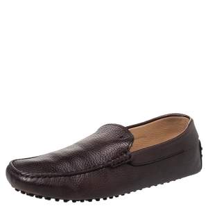 Tods Brown Leather Slip on Loafers Size 42