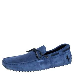 Tod's By Ferrari Blue Suede Bow Loafers Size 47