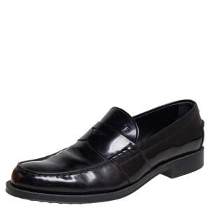 Tod's Black Leather Penny Slip On Loafers Size 44.5