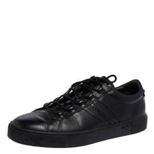 Tod's Black Leather Low Top Sneakers Size 44.5