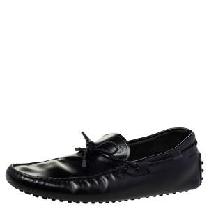 Tod's Black Leather Bow Slip on Loafers Size 44