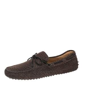 Tod's Brown Leather Bow Slip on Loafers Size 43