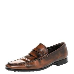 Tod's Brown Leather Slip on Loafers Size 44