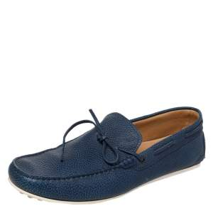 Tod's Blue Leather Bow Slip On Loafers Size 45