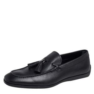 Tod's Black Leather Tassel Loafers Size 43