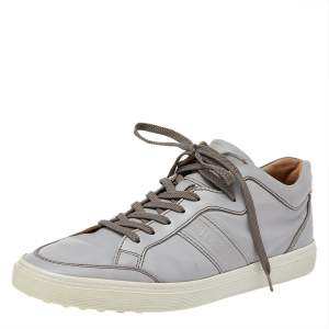 Tods Grey Leather Low Top Sneakers Size 42