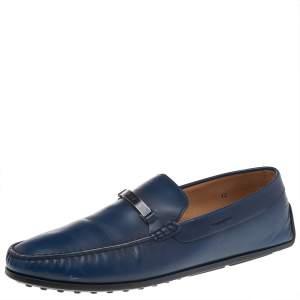 Tod's Blue Leather Logo Bit Slip On Loafers Size 47