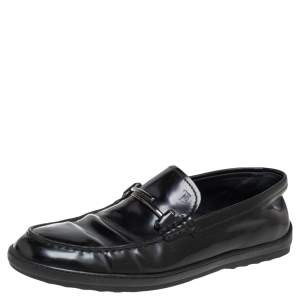 Tods Black  Leather Double T Slip On Loafers Size 39.5