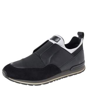 Tod's Black/White Suede And Leather Slip On Sneakers Size 42