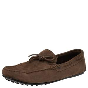 Tods Brown Suede Slip on Loafers Size 43