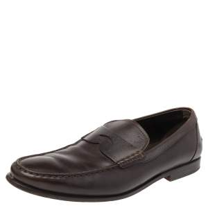 Tod's Brown Leather Penny Slip On Loafers Size 42