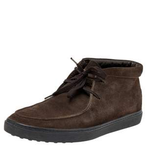 Tod's Brown Suede Lace Up Sneakers Size 41.5