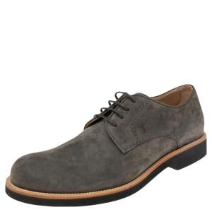 Tod's Grey Suede Lace Up Oxfords Size 42.5