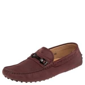 Tod's Burgundy Nubuck Leather Bit Slip On Loafers Size 42.5