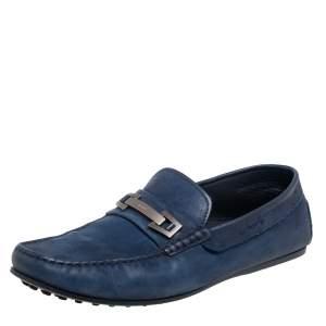Tod's Navy Blue Nubuck Leather Bit Slip On Loafers Size 42.5