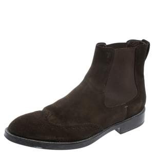 Tod's Dark Brown Suede Ankle Boots Size 45.5