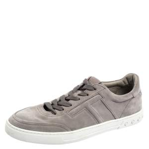 Tod's Grey Suede Low Top Sneakers Size 44.5