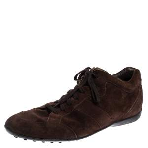 Tods Brown Suede Lace Up  Sneakers Size 45.5