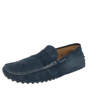 Tod's Blue Suede Penny Slip On Driving Loafers Size 42.5