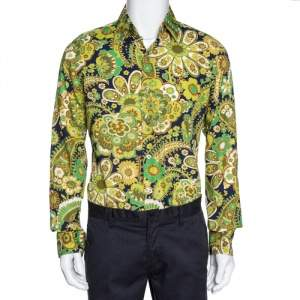 Tom Ford Green Floral Print Cotton Long Sleeve Shirt L