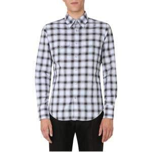 Tom Ford White/Black Checked Slim Fit Shirt Size EU 41