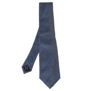 Tom Ford Navy Blue & Silver Basketweave Silk Tie