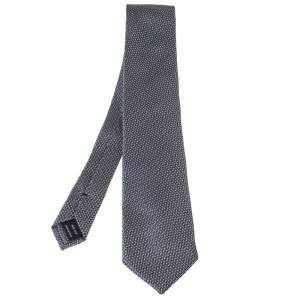 Tom Ford Grey Basketweave Silk Tie