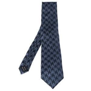 Tom Ford Navy Blue Houndstooth Silk Jacquard Tie