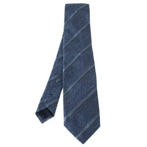 Tom Ford Blue Mini Check & Stripe Silk Blend Tie